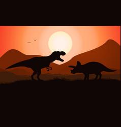 Dinosaur battle silhouette vector