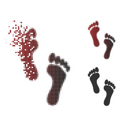 dissolved pixel halftone footprints icon vector image