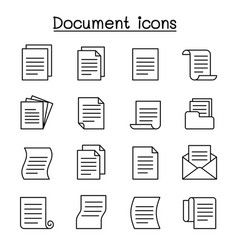 document file icon set in thin line style vector image