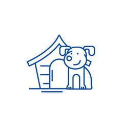 domestic dog line icon concept domestic dog flat vector image