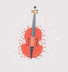 Double bass on white vector