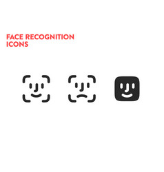 face id icons scanning process icons facial vector image