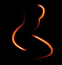 fiery in shape of silhouette woman vector image