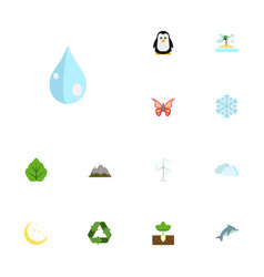 Flat icons electric mill isle beach sprout and vector