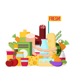 food and drink products flat design colored vector image
