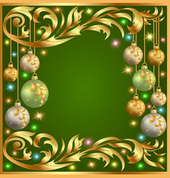 Gold background frame festive ball winter vector