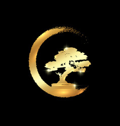 Gold japanese bonsai tree logo plant silhouette vector