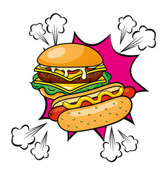 Hamburger and hot dog vector