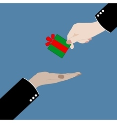 hand giving a gift in vector image
