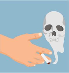 hand with cigarette smoke skull vector image