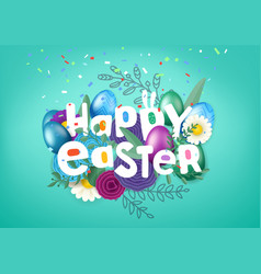 happy easter greeting card with comic style vector image