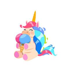 Happy unicorn with ice cream little magic horse vector