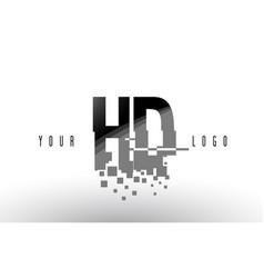 Hd h d pixel letter logo with digital shattered vector