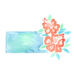 hibiscus flower banner watercolor for summer vector image