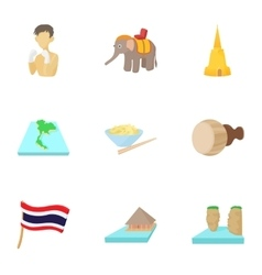 Holiday in Thailand icons set cartoon style vector