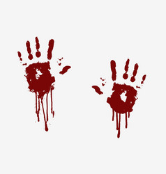 Imprints bloody human palms with flowing blood vector