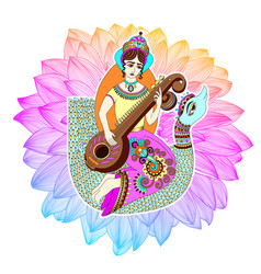 indian goddess saraswati playing on veena astride vector image