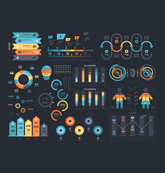 Infographic elements on dark background vector
