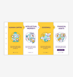 Intangible investment kinds onboarding template vector