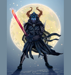 japanese samurai silhouette over moon fantasy vector image