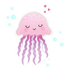 jellyfish cartoon pink cute vector image