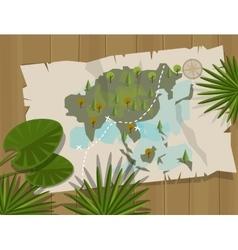 jungle map asia cartoon adventure vector image