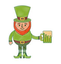 leprechaun character holding green beer vector image