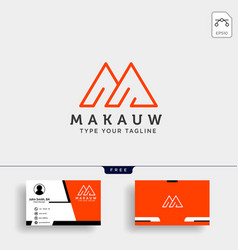 letter m logo template with business card design vector image