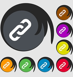 Link icon sign Symbols on eight colored buttons vector