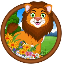 lion cartoon in frame vector image
