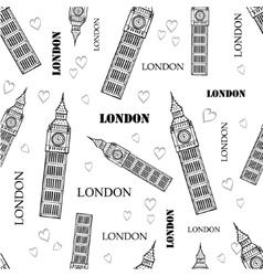 London Symbols Black White Seamless Pattern vector image