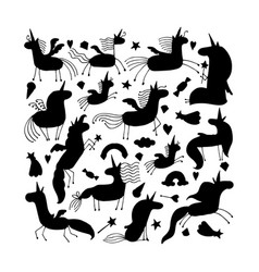 magic unicorns collection black silhouette for vector image