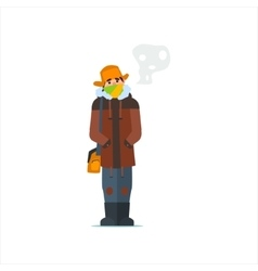 Man In Cap With Flaps vector