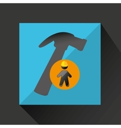 Man silhouette helmet and hammer design graphic vector