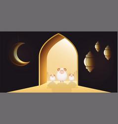 muslim holiday eid al-adha white sheep or vector image