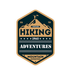 Nature hiking adventures vintage isolated badge vector