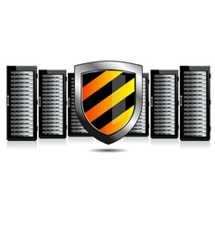 Network Security - Servers and Shield Protection vector image