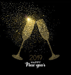 new year 2019 party drink gold glitter dust card vector image