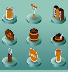 octoberfest color isometric icons vector image