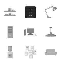 Office furniture and interior set icons in vector image