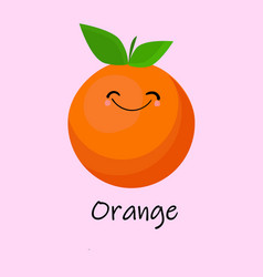 Orange cute fruit cartoon character isolated on vector