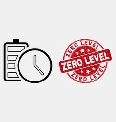 outline battery charge time icon and grunge vector image