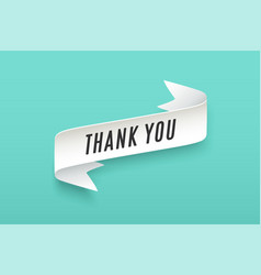 Paper ribbon with text thank you vector