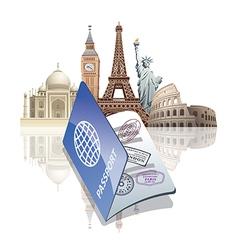 Passport and landmarks vector