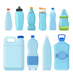 plastic bottles for water of different types and vector image