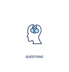 Questions concept 2 colored icon simple line vector