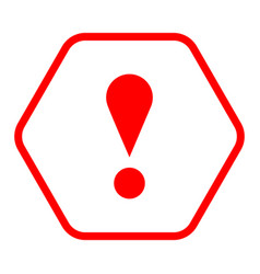 Red hexagon exclamation mark icon warning sign vector