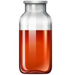 Red substance in glass bottle vector