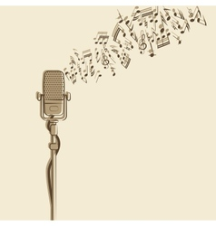 retro background with microphone vector image