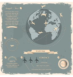 Retro style design with aircrafts and Globe vector image